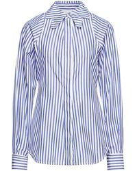 Victoria Beckham Striped Cotton-poplin Shirt - Blue