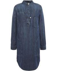 Current/Elliott The B50 Denim Mini Shirt Dress Mid Denim - Blue