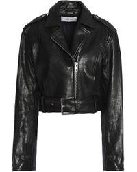 FRAME Cropped Leather Biker Jacket Black