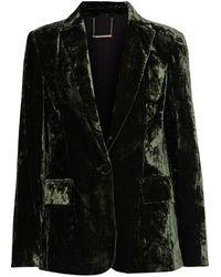 FRAME Crushed-velvet Blazer Forest Green