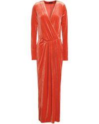 By Malene Birger Wrap-effect Gathered Velvet Gown Orange