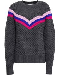 MILLY Varsity Stripe Merino Wool Jumper Dark Grey - Gray