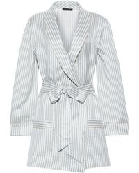 Kiki de Montparnasse Striped Silk-satin Robe Light Gray