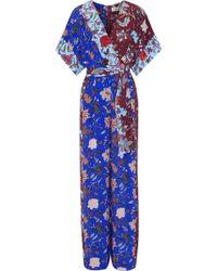 Diane von Furstenberg Woman Wrap-effect Belted Floral-print Silk Jumpsuit Multicolour - Blue
