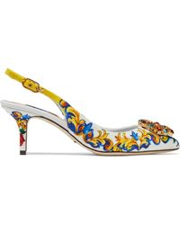 Dolce & Gabbana Crystal-embellished Printed Jacquard Slingback Court Shoes Multicolour - Blue