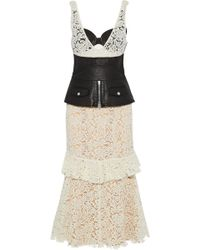 Alexander Wang - Woman Cutout Textured-leather Paneled Cotton-blend Corded Lace Midi Dress Ivory - Lyst