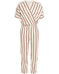Maje Wrap-effect Striped Twill Jumpsuit Ivory - White