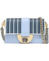 Diane von Furstenberg Stone Lock Bonne Journée Striped Faux Raffia-paneled Leather Shoulder Bag Light Blue
