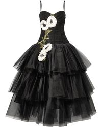 Marchesa - Tiered Floral-appliquéd Tulle Gown Black - Lyst