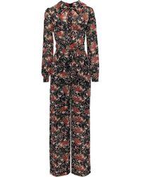 byTiMo Belted Floral-print Georgette Jumpsuit Black