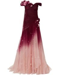 Marchesa 3-d Flower Embellishment Off-the-shoulder Ombre Tulle Evening Gown - Red