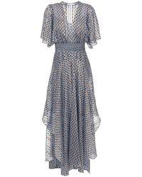 Maje Richelane Shirred Printed Metallic Jacquard Maxi Dress - Blue