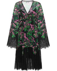 McQ Wrap-effect Lace-paneled Printed Georgette Dress Green