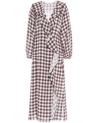 Marysia Swim Ruffled Gingham Linen Midi Dress - Brown