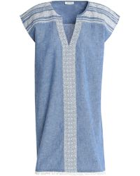 Soft Joie - Embroidered Cotton And Linen-blend Chambray Mini Dress - Lyst