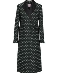 ALEXACHUNG - Double-breasted Satin-trimmed Floral-jacquard Coat Dark Green - Lyst