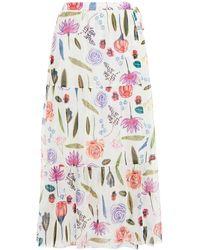 Baum und Pferdgarten Floral-print Stretch-mesh Midi Wrap Skirt - Multicolour