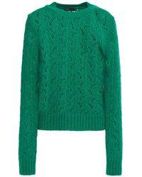 Maje Open-knit Jumper Green