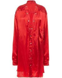 Rick Owens Oversized Cupro-satin Shirt Claret - Red