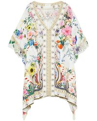 Camilla Hotel Boheme Georgette-trimmed Printed Silk-jacquard Kaftan Ivory - White