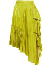 Marques'Almeida Asymmetric Ruffled Satin Skirt - Green