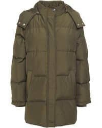 Claudie Pierlot Quilted Shell Down Hooded Jacket Army Green