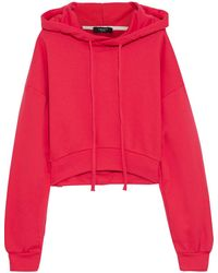 TWENTY MONTREAL Twenty Montréal Embroidered French Cotton-blend Terry Hoodie Tomato Red