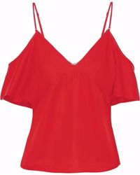 T By Alexander Wang - Cold-shoulder Chain-embellished Stretch-crepe Top - Lyst