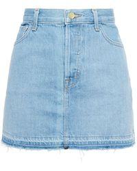 J Brand Bonny Frayed Denim Mini Skirt Light Denim - Blue
