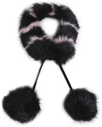 Charlotte Simone Pompom-embellished Striped Faux Fur Collar - Schwarz