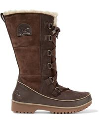 Sorel - Lace-up Suede And Shearling Snow Boots - Lyst