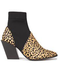 Rodebjer Kari Leopard-print Calf Hair And Neoprene Ankle Boots Animal Print - Multicolour