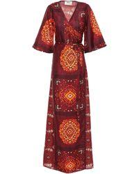 Ba&sh Heart Printed Silk Maxi Wrap Dress Merlot - Red