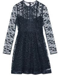 RED Valentino - Ruffle-trimmed Pintucked Lace Mini Dress - Lyst