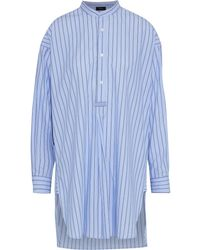 JOSEPH Edwin Striped Cotton-poplin Tunic Light Blue