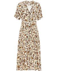 Claudie Pierlot Pleated Printed Satin-crepe Midi Dress - Multicolour