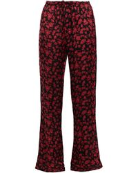 Love Stories Billy Floral-print Charmeuse Pyjama Trousers Crimson - Red