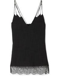 Khaite Elenora Lace-trimmed Crepe Camisole Black