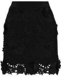 MILLY - Floral-appliquéd Guipure Lace Mini Skirt - Lyst