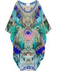 Camilla Asymmetric Crystal-embellished Printed Silk Crepe De Chine Coverup Turquoise - Blue