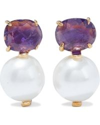 Bounkit 14-karat Gold-plated, Pearl And Amethyst Earrings - Purple