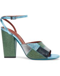 Missoni - Metallic And Glittered Leather Sandals - Lyst