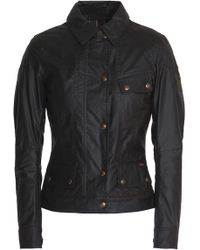 Belstaff - Panelled Coated-cotton Jacket Dark Brown - Lyst