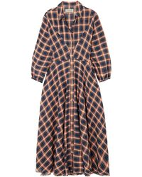 The Great The Western Checked Cotton-blend Midi Dress - Blue