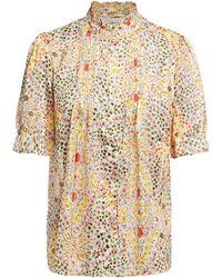 Ba&sh Hippy Pintucked Floral-print Satin-jacquard Shirt - White
