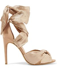 Alexandre Birman - Katherine Knotted Silk-satin And Suede Sandals - Lyst