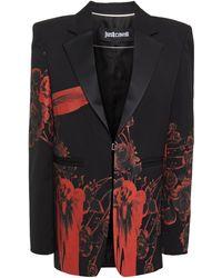 Just Cavalli Satin-trimmed Floral-print Twill Blazer - Black