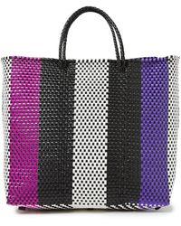 Truss Medium Striped Woven Raffia-effect Tote Purple