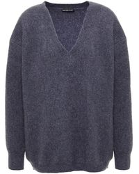 James Perse Ribbed Cashmere And Silk-blend Jumper - Blue
