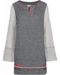lemlem - Kito Striped Gauze-paneled Herringbone Cotton-blend Mini Dress Dark Grey - Lyst